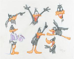 Daffy Duck original model sheet drawing by Virgil Ross