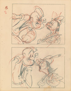 Popeye and William Tell production storyboard drawings from Popeye