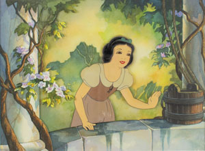 Snow White production cel with watercolor background by Toby Bluth from Snow White and the Seven Dwarfs