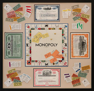 Antique Monopoly Set with Railroad Stock Certificates