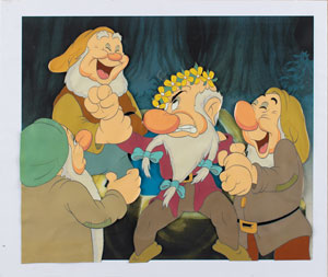 Grumpy, Happy, Sneezy, and Sleepy production cel from Snow White and the Seven Dwarfs