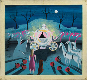 Mary Blair concept painting of Cinderella and Fairy Godmother from Cinderella