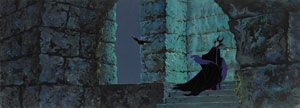 Maleficent and Diablo the Raven production cels and super panorama background from Sleeping Beauty
