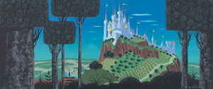 Eyvind Earle concept storyboard painting from Sleeping Beauty