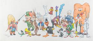 Looney Tunes characters original super-pan drawing by Virgil Ross