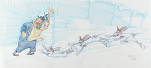 Bugs Bunny and Umpire original super-pan drawing by Virgil Ross