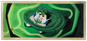 Mary Blair concept storyboard painting of Alice from Alice in Wonderland