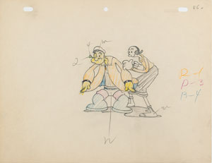 Popeye and Olive Oyl production drawing from Dizzy Divers