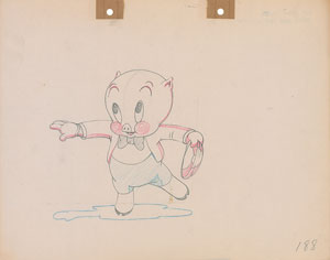Porky Pig production drawing from Old Glory