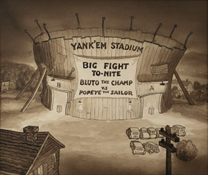 Yank'em Stadium production background from the Popeye cartoon Let's You and Him Fight