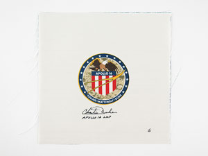John Young's Apollo 16 Beta Cloth Signed by Charlie Duke