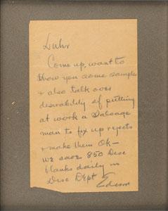 Thomas Edison Autograph Letter Signed