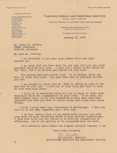 George Washington Carver Typed Letter Signed