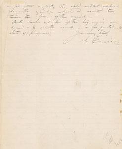 John Ericsson Autograph Letter Signed