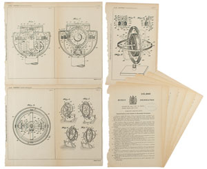 George Albert Rossiter Gyroscopic Compass Patent Lithograph