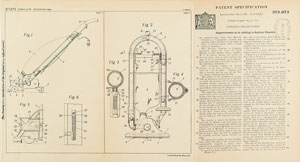 Hoover Vacuum Patent Lithograph and Specification Document