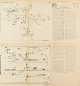 DeHavilland Aeroplane Patent Lithograph and Specification Document