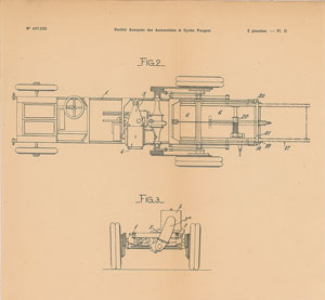 Peugeot Chassis Patent Lithograph