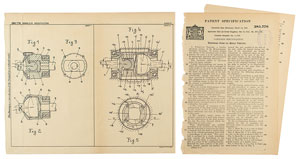Ferdinand Porsche Universal Motor Vehicle Joint Patent Lithograph and Specification Document