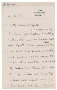 Charles Darwin Letter Signed with Autograph Postscript