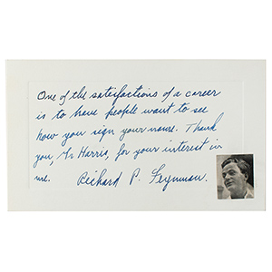 Richard Feynman Autograph Note Signed