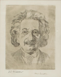 Albert Einstein Signed Etching