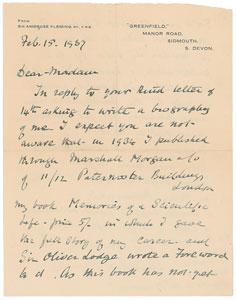 Ambrose Fleming Autograph Letter Signed