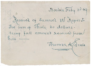 Thomas Edison Autograph Document Signed