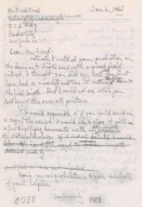 Leslie Groves Handwritten Draft Letters