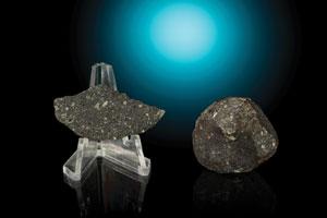 Allende Meteorite Slice and Individual (Lot of 2)