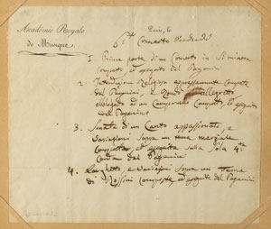 Niccolo Paganini Handwritten Set List