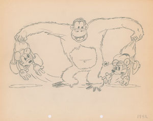 Mickey and Minnie Mouse and Beppo the Gorilla production drawing from The Pet Store