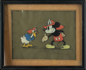 Mickey Mouse and Donald Duck publicity cel from Mickey's Fire Brigade