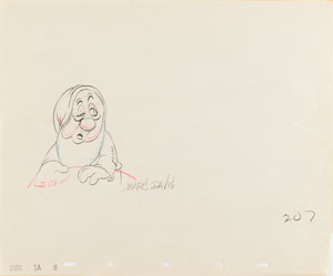 Sleepy production drawing from Snow White and the Seven Dwarfs signed by Marc Davis