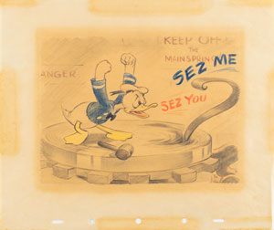 Donald Duck production drawing from Clock Cleaners
