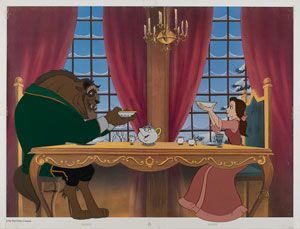 Belle and Beast limited edition cel from Beauty and the Beast