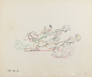 Bashful and birds production drawing from Snow White and the Seven Dwarfs