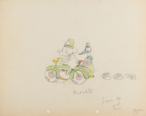 Mickey Mouse and Donald Duck production drawing from The Dognapper