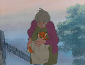 Tod and Widow Tweed production cel from The Fox and the Hound