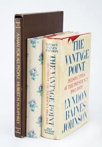 Lyndon B. Johnson, Lady Bird Johnson, and Hubert Humphrey