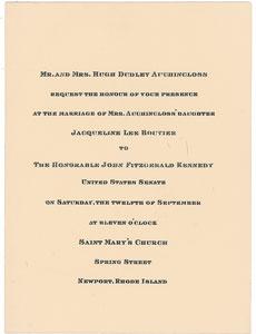 John and Jacqueline Kennedy Wedding Invitation