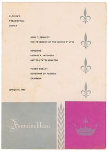 John F. Kennedy Florida Dinner Menu