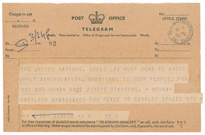 John F. Kennedy Telegram