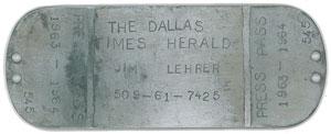 Jim Lehrer's Dallas Times Herald Press Pass