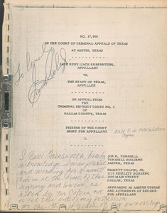 Jack Ruby Second Trial Appeal Papers Signed by Emmett Colvin