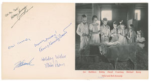 Ethel Kennedy and Family Signed Christmas Card