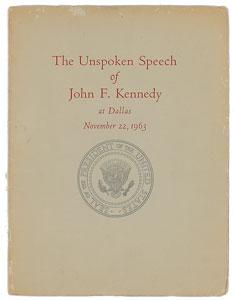John F. Kennedy Unspoken Speech Booklet