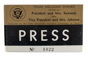 John F. Kennedy Texas Welcome Dinner Press Badge