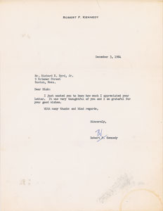 Robert F. Kennedy Typed Letter Signed