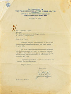 Kennedy Assassination: Cyril E. King Typed Letter Signed